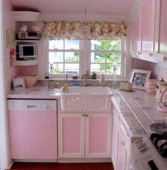 rose color kitchen for spring