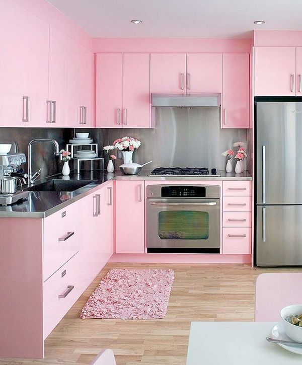 beautiful rose color kitchen for spring