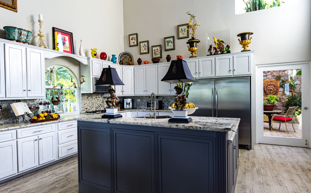 kitchen with many small cabinets