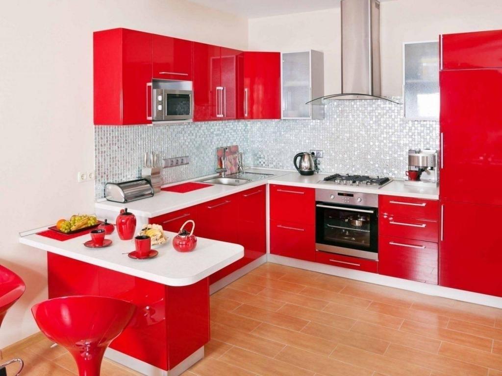 light red kitchen design