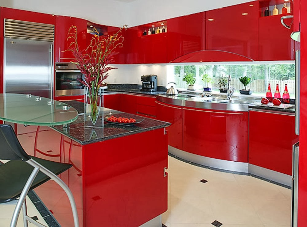 red kitchen with glasses to look outside