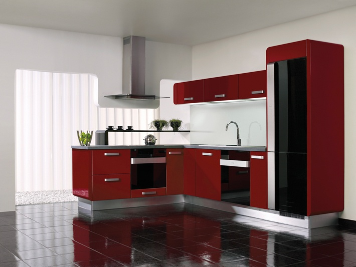 red cabinets, black tiles kitchen