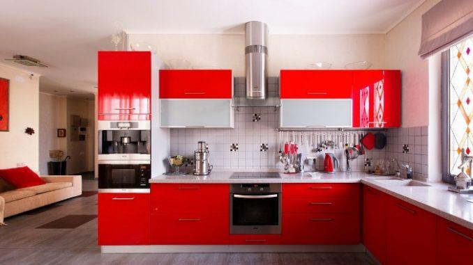 big red kitchen