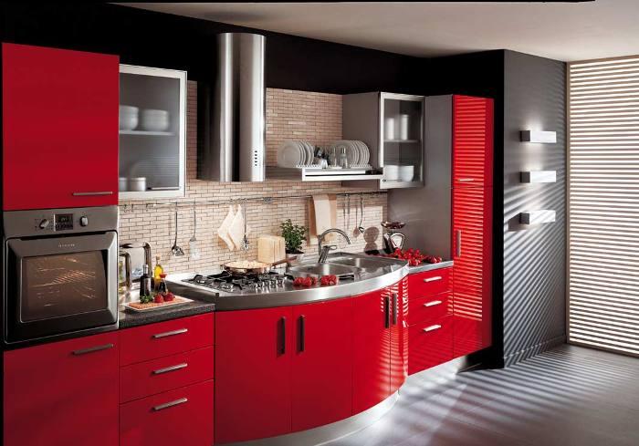 clean red kitchen