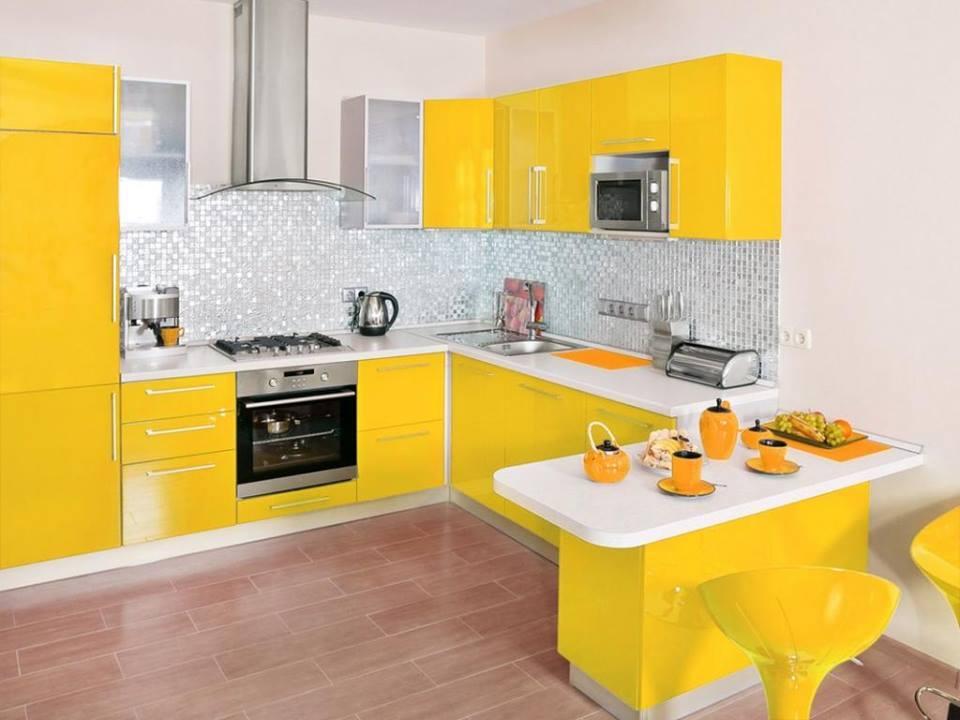 Beautiful yellow kitchen idea with yellow cabinets