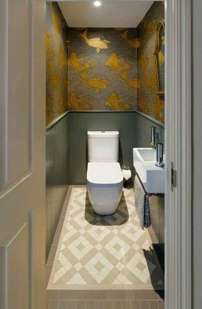 small bathroom under stairs