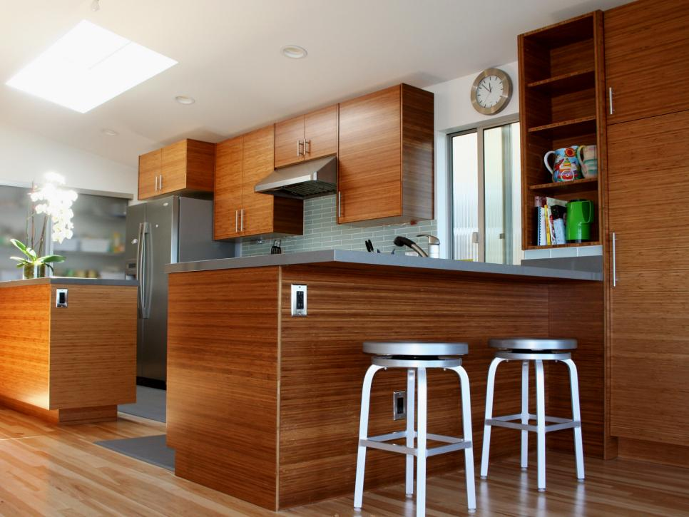bamboo cabinets quartz countertops