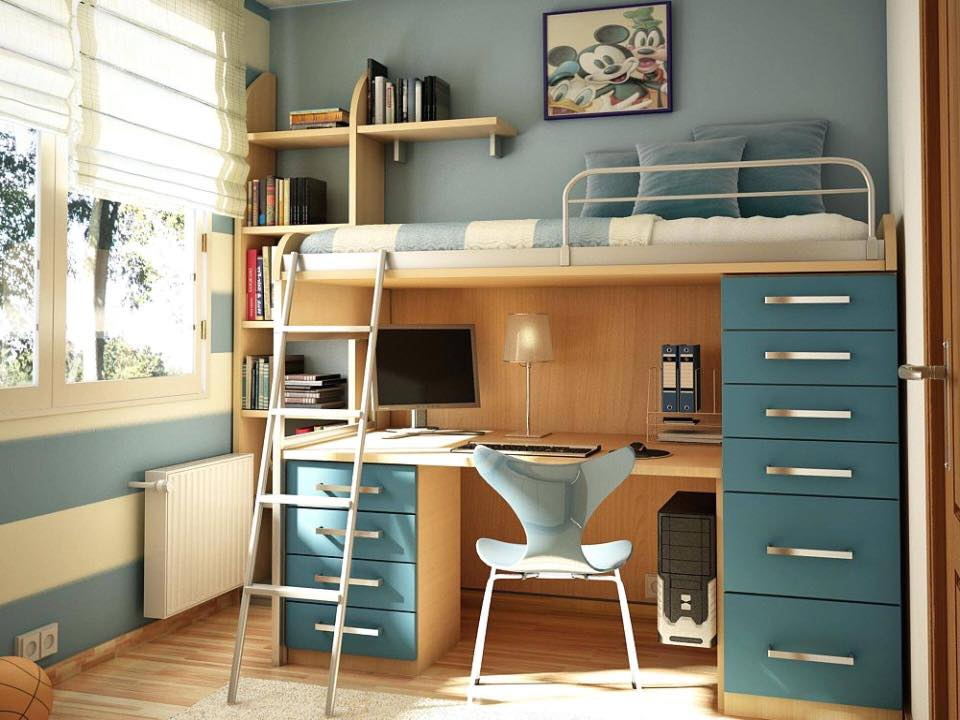 Space saving bed study table
