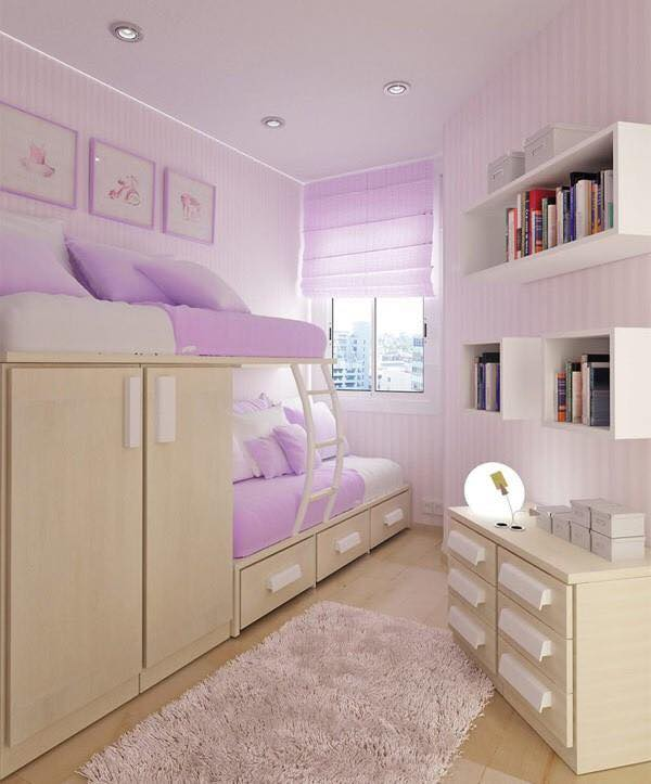 Small purple bedroom design