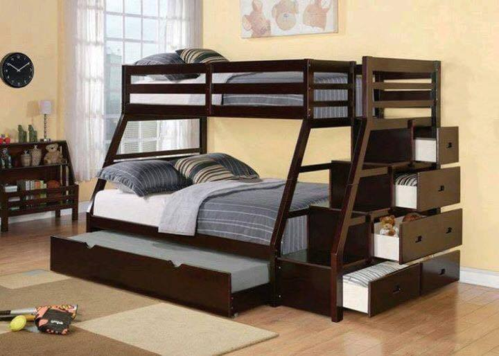 Bunk beds with large bed on bottom