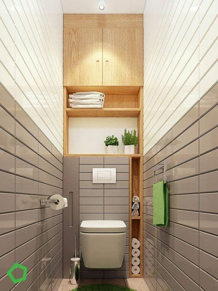Eye catching bathroom decorating idea with storage facilities