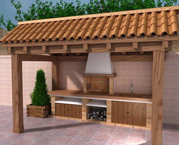 Outdoor place with cabinets