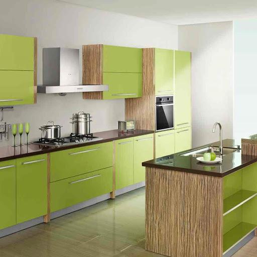 Olive green modular kitchen