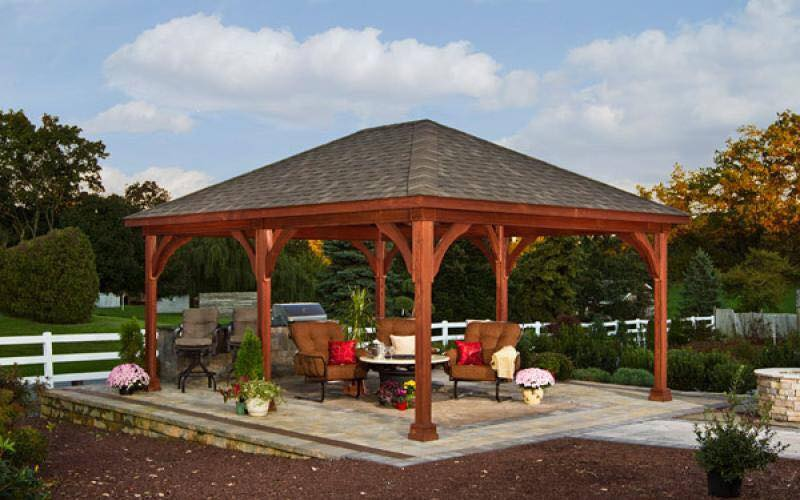 Patio design with shed and pavilion