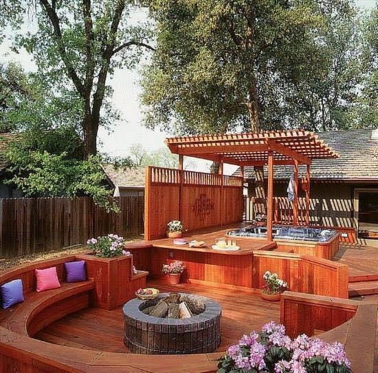 Spa in backyard