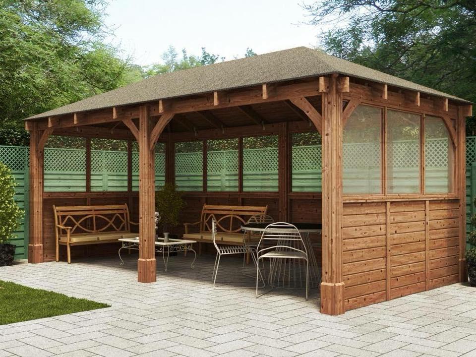 Wooden side panels for gazebo