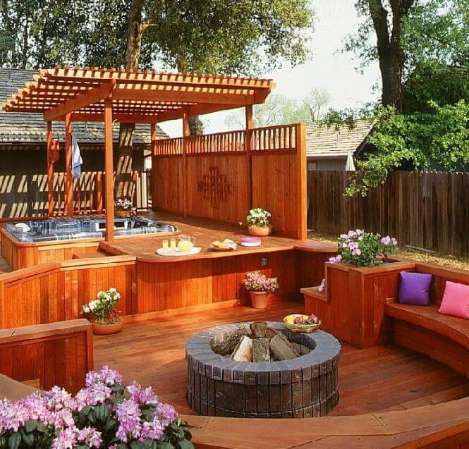Hot tub and outdoor kitchen gazebo
