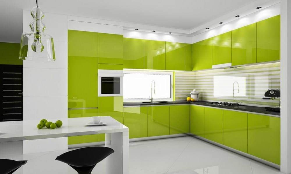 Modern colorful kitchen cabinets