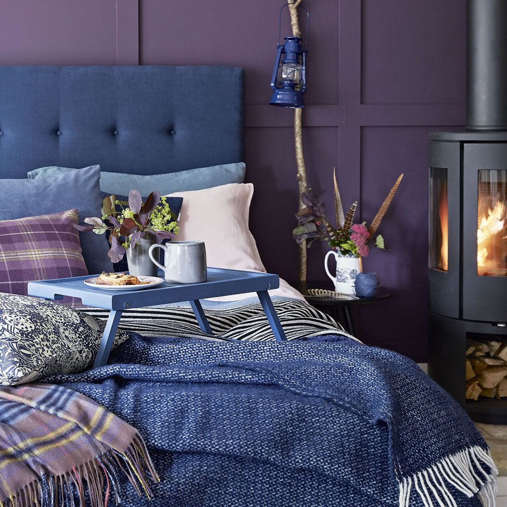 Purple and blue bedroom
