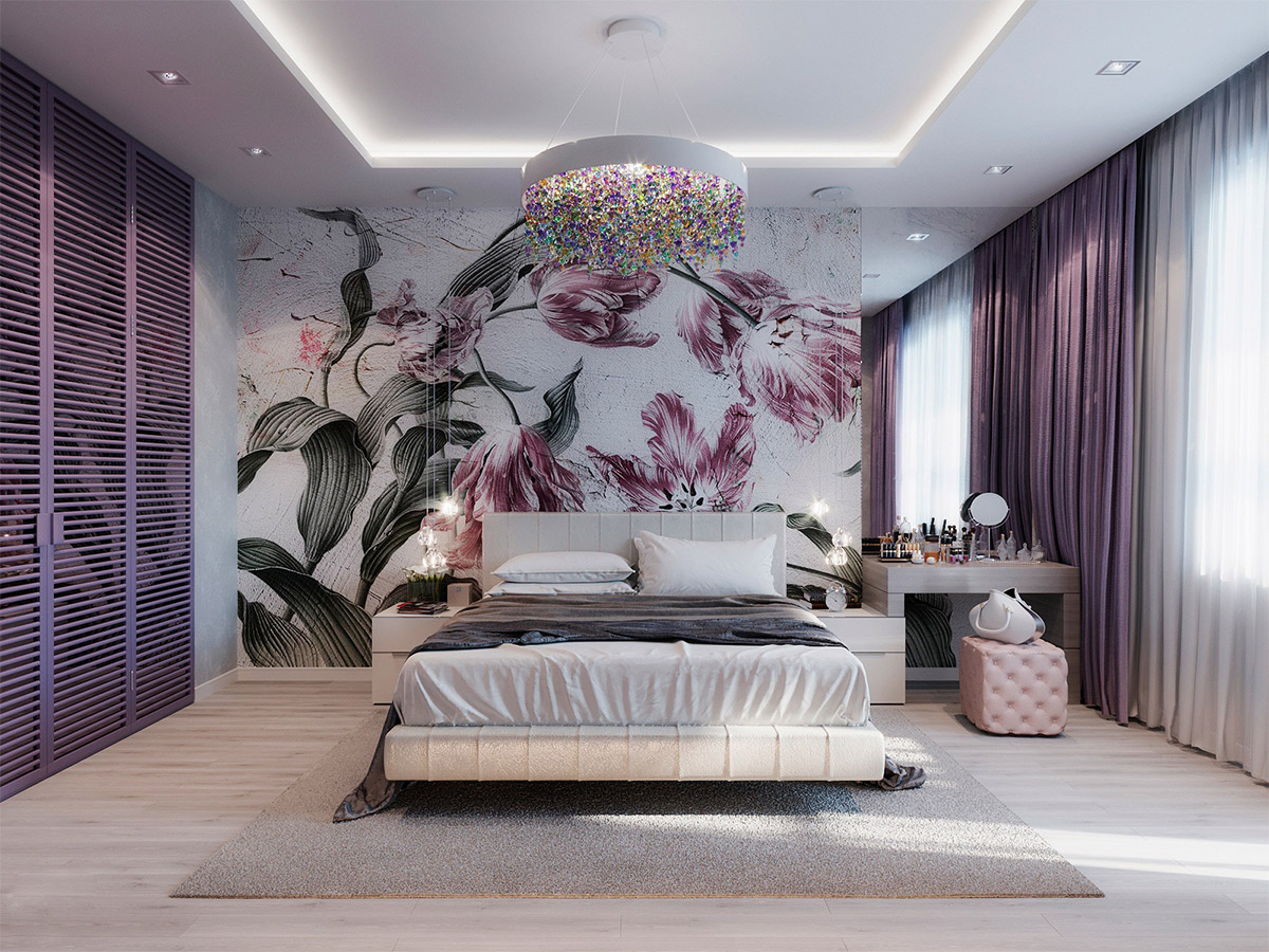 Purple-themed bedroom interior design idea