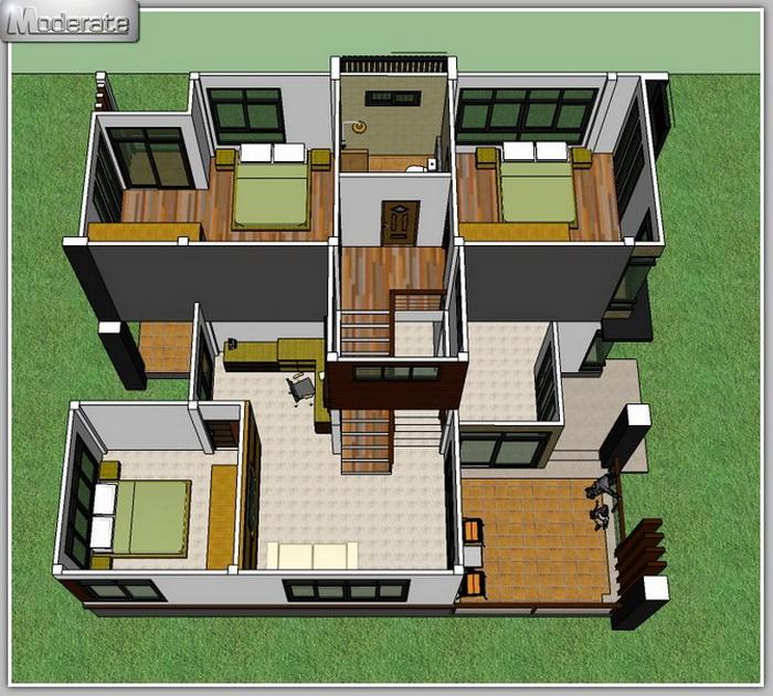 Half Floor Modern House Plan