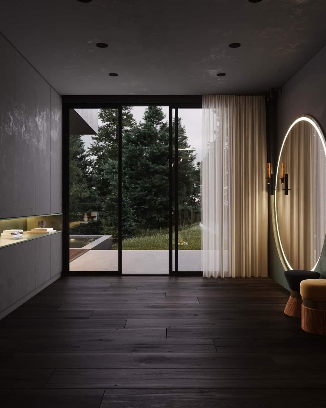 Spacious Living Room With Wooden Floor - Source: Kireevaaanna