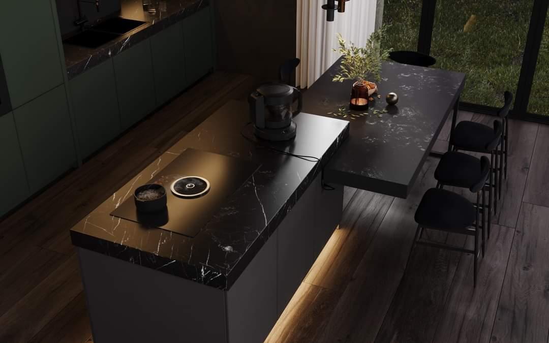 Beautiful Black Coloured Kitchen Cabinet - Source: Kireevaaanna