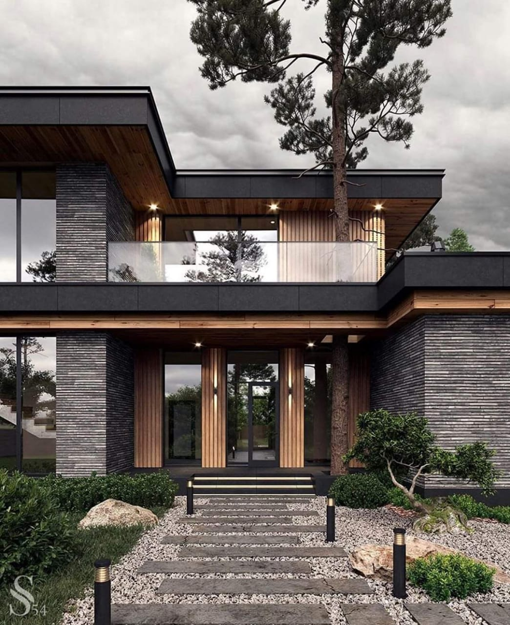 Modern Home Design With Fascinating Inviting Entrance