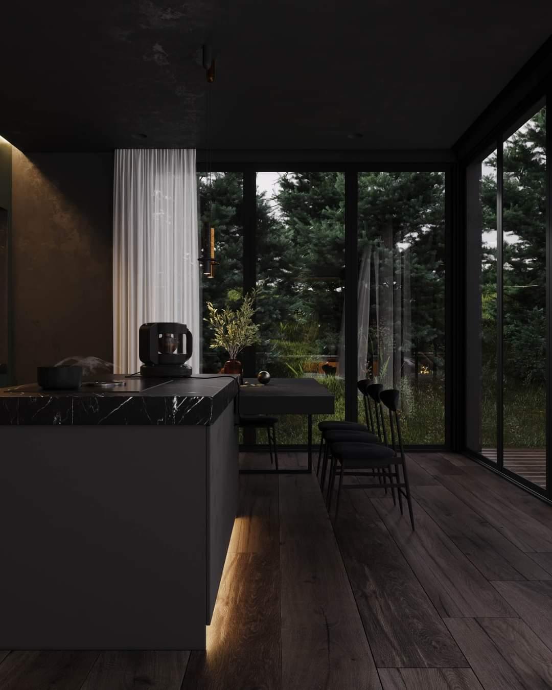 Beautiful Black Kitchen Design Set Up - Source: Kireevaaanna